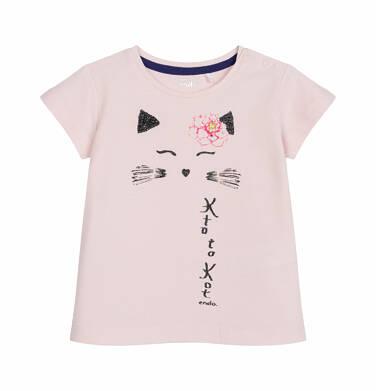 Bluzka z krótkim rękawem dla dziecka do 2 lat, z kotem, różowa N03G011_1