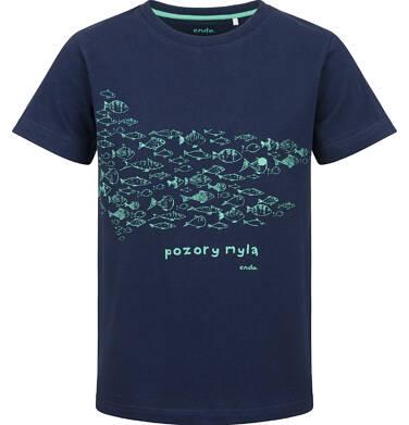 Endo - T-shirt z krótkim rękawem dla chłopca, z rybkami, granatowy, 9-13 lat C03G629_1