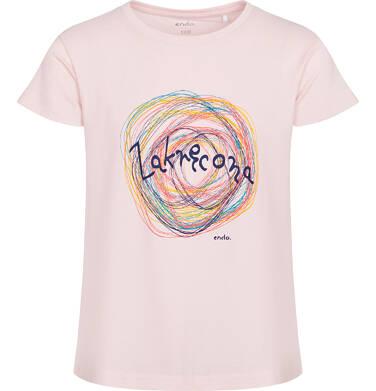 Endo - T-shirt z krótkim rękawem dla dziewczynki, z napisem zakręcona, różowy, 9-13 lat D06G510_1 30