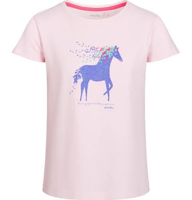 Bluzka z krótkim rękawem dla dziewczynki, z koniem, różowa, 2-8 lat D03G035_1