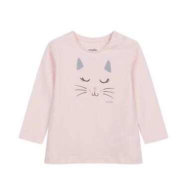 Bluzka z długim rękawem dla dziecka do 2 lat, z kotem N04G027_1
