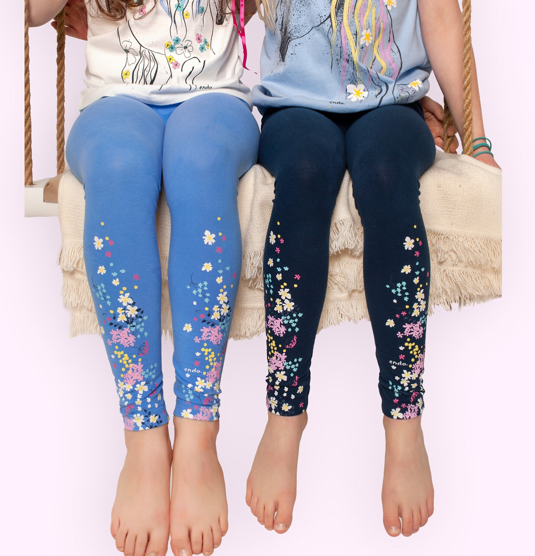 Endo - Legginsy dla dziewczynki, granatowe z kwiatkami, 2-8 lat D05K076_1
