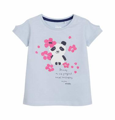 Endo - Bluzka z krótkim rękawem dla dziecka do 2 lat, z pandą w kwiatach, niebieska N03G012_1 6