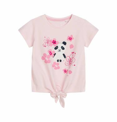 Endo - Bluzka z krótkim rękawem dla dziecka do 2 lat, z pandą w kwiatach, różowa N03G013_1