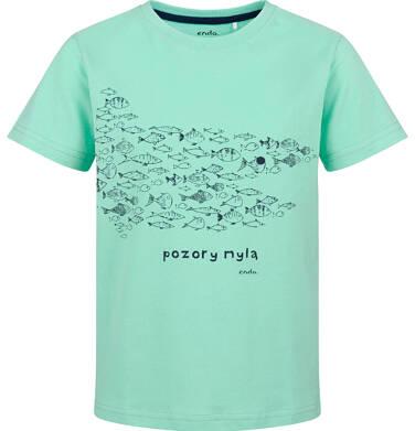 Endo - T-shirt z krótkim rękawem dla chłopca, z rybkami, miętowy, 9-13 lat C03G629_2 32