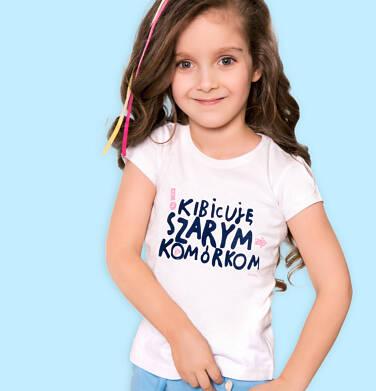 Endo - T-shirt z krótkim rękawem dla dziewczynki, z napisem kibicuję szarym komórkom, kremowy, 9-13 lat D06G506_2 2