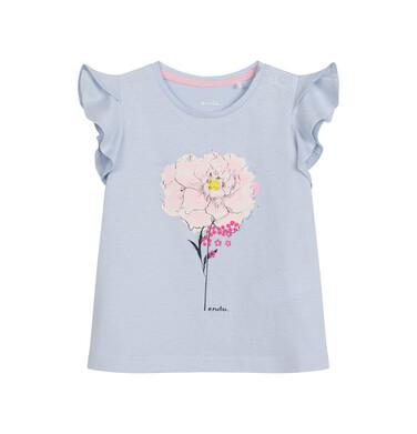 Endo - Bluzka z krótkim rękawem dla dziecka do 2 lat, z kwiatem, niebieska N03G014_1
