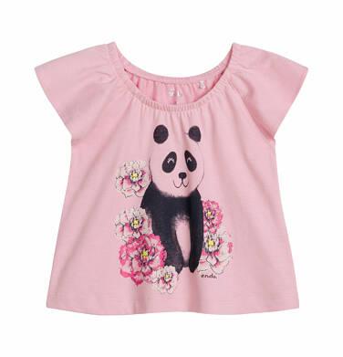 Endo - Bluzka z krótkim rękawem dla dziecka do 2 lat, z pandą, różowa N03G015_1 5