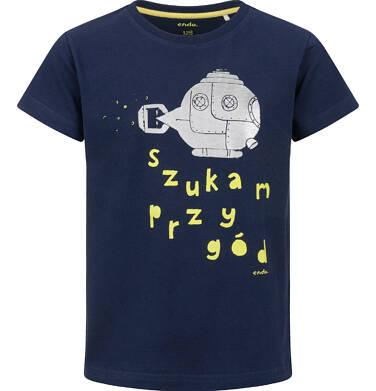 Endo - T-shirt z krótkim rękawem dla chłopca, z podwodną łodzią, granatowy, 2-8 lat C03G131_1 16