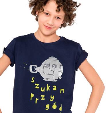Endo - T-shirt z krótkim rękawem dla chłopca, z podwodną łodzią, granatowy, 9-13 lat C03G631_1