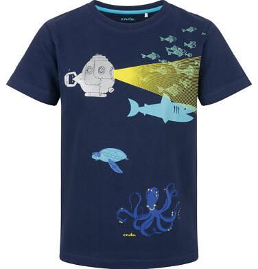 Endo - T-shirt z krótkim rękawem dla chłopca, z łodzią podwodną, granatowy, 9-13 lat C03G633_1 11