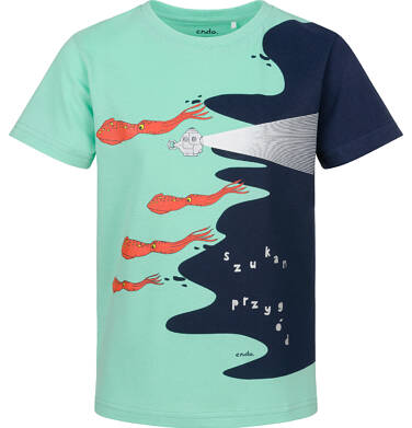 Endo - T-shirt z krótkim rękawem dla chłopca, z morskim motywem, niebieski, 9-13 lat C03G634_1