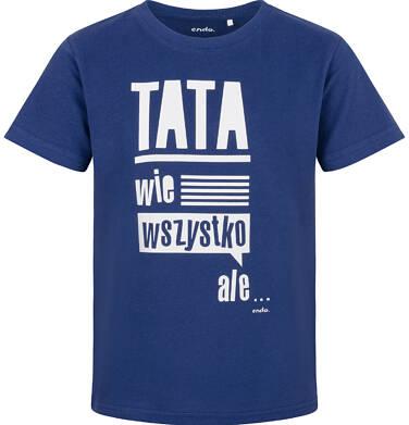 Endo - T-shirt z krótkim rękawem dla chłopca, tata wie wszystko, granatowy, 2-8 lat C03G158_1