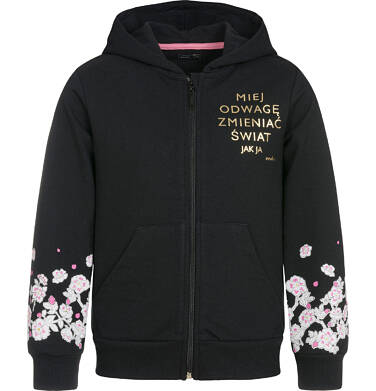 Bluza rozpinana z kapturem dla dziewczynki 9-13 lat D92C510_1