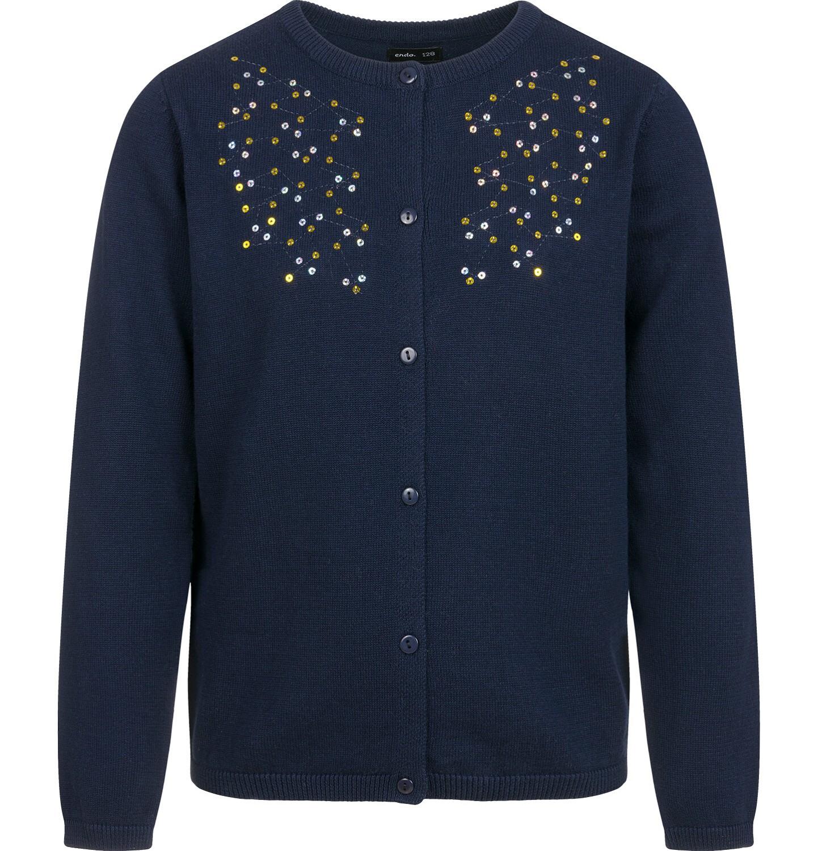 Endo - Sweter dla dziewczynki, rozpinany, granatowy, 2-8 lat D04B001_1