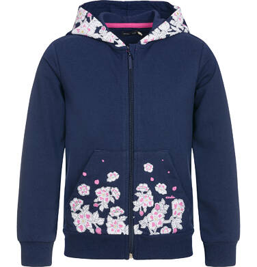 Endo - Rozpinana bluza z kapturem dla dziewczynki, granatowa, 3-8 lat D92C015_1