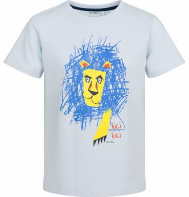 Endo - T-shirt z krótkim rękawem dla chłopca, z lwem, niebieski, 9-13 lat C03G510_1