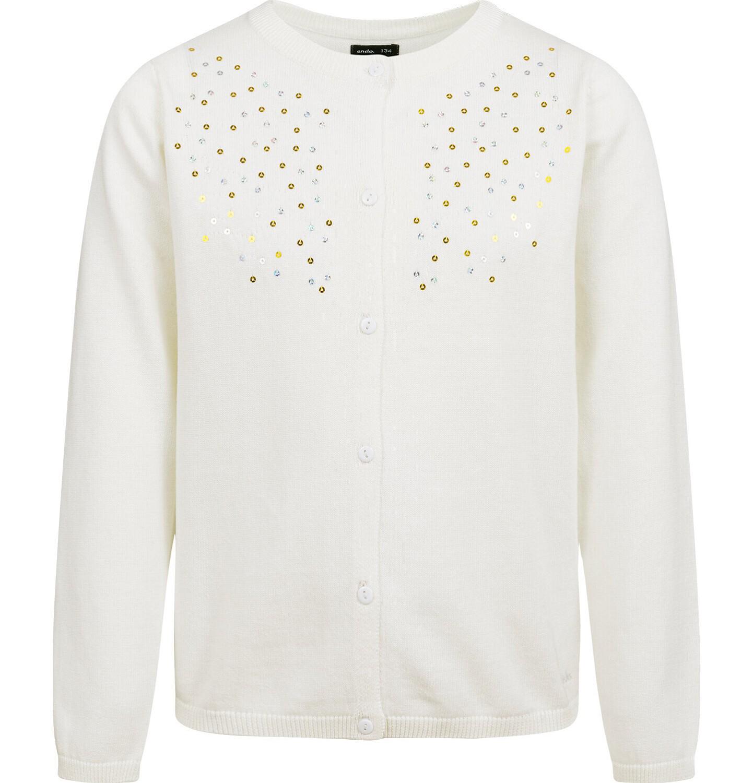 Endo - Sweter dla dziewczynki, rozpinany, kremowy, 2-8 lat D04B001_3