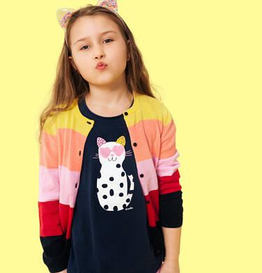 Endo - Sweter dla dziewczynki, rozpinany, w paski, 2-8 lat D04B003_1,2