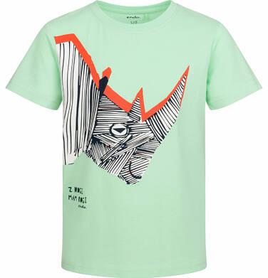 Endo - T-shirt z krótkim rękawem dla chłopca, z nosorożcem, zielony, 9-13 lat C03G512_1