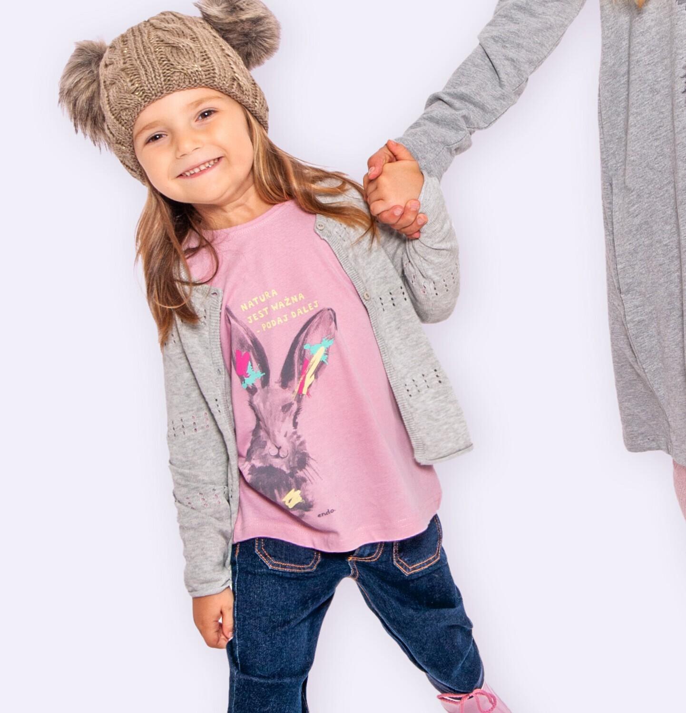 Endo - Sweter dla dziewczynki, rozpinany, szary, 2-8 lat D04B004_2