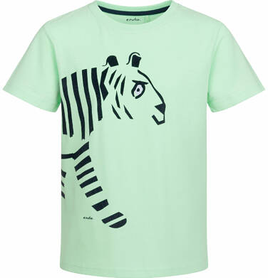 Endo - T-shirt z krótkim rękawem dla chłopca, z tygrysem, jasnozielony, 2-8 lat C03G014_2