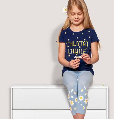 Endo - Legginsy 3/4 dla dziewczynki, błękitne ze stokrotkami, 9-13 lat D05K078_2 30