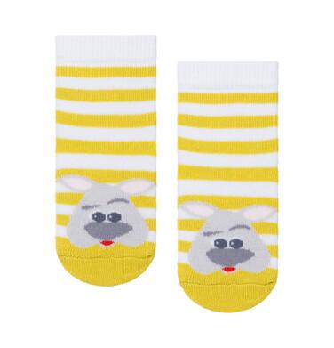 Endo - Skarpetki dziecięce w biało żółte paski D08P050_1 8