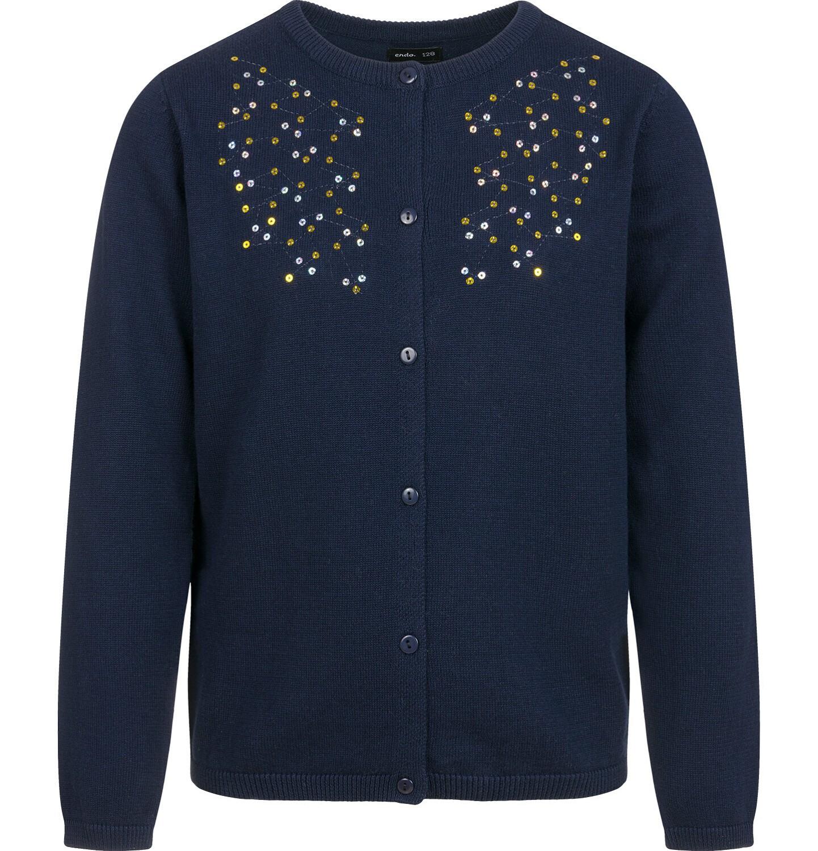 Endo - Sweter dla dziewczynki, rozpinany, granatowy, 9-13 lat D04B010_1