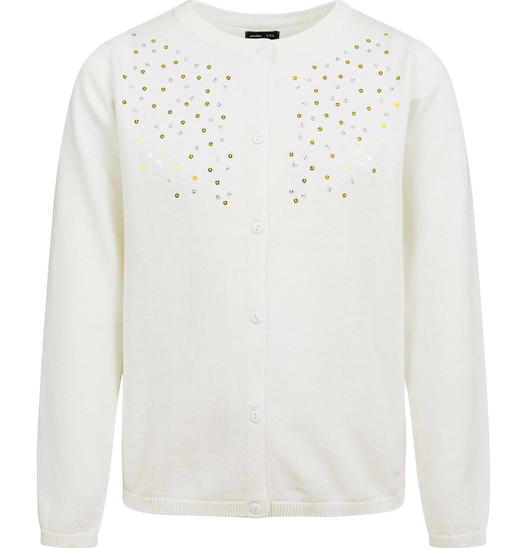 Endo - Sweter dla dziewczynki, rozpinany, kremowy, 9-13 lat D04B010_3