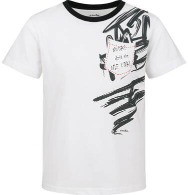 Endo - T-shirt z krótkim rękawem dla chłopca, z kieszonką, biała, 9-13 lat C03G664_1