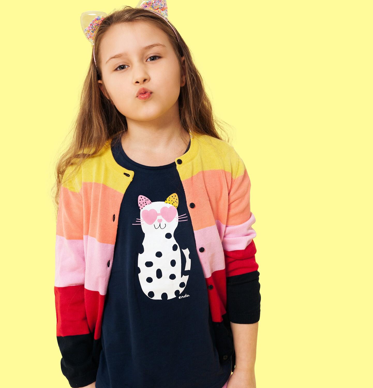 Endo - Sweter dla dziewczynki, rozpinany, w paski, 9-13 lat D04B011_1