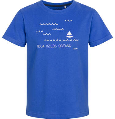 Endo - T-shirt z krótkim rękawem dla chłopca, z morskim motywem, niebieski, 2-8 lat C03G166_1