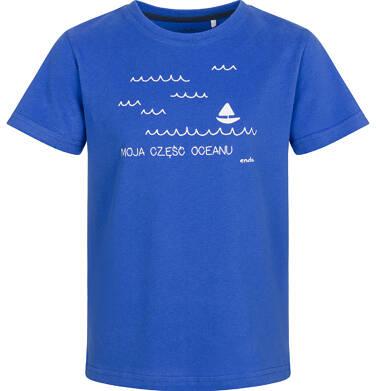 Endo - T-shirt z krótkim rękawem dla chłopca, z morskim motywem, niebieski, 9-13 lat C03G666_1
