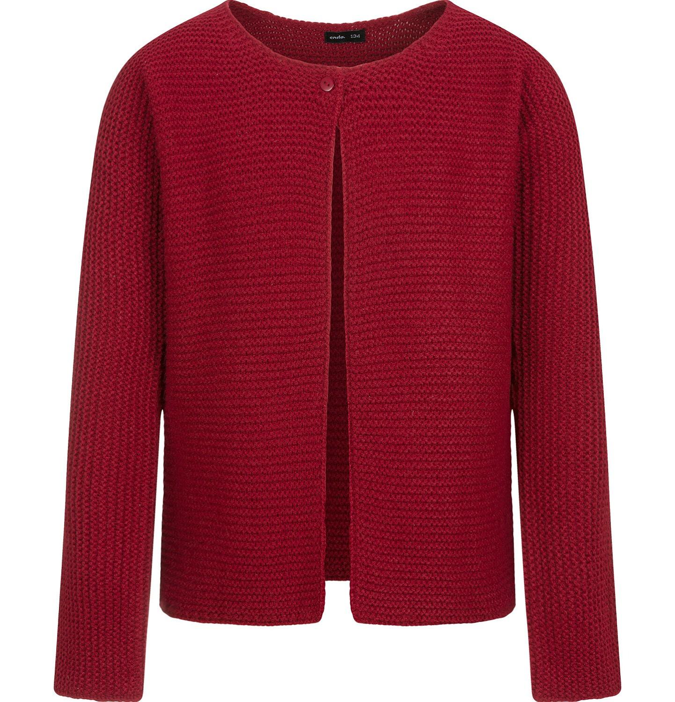 Endo - Sweter dla dziewczynki, rozpinany, bordowy, 9-13 lat D04B016_1
