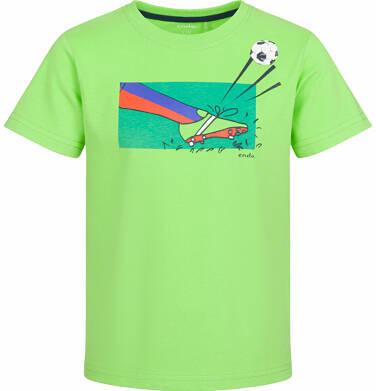 T-shirt z krótkim rękawem dla chłopca, z piłkarskim motywem, zielony, 9-13 lat C03G562_1