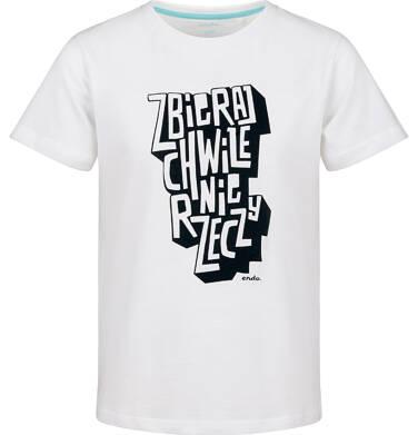 Endo - T-shirt z krótkim rękawem dla chłopca, biały, 2-8 lat C03G167_1 5