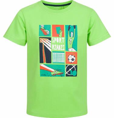 Endo - T-shirt z krótkim rękawem dla chłopca, z motywem piłki nożnej, zielony, 9-13 lat C03G569_1