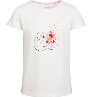 Endo - Bluzka z krótkim rękawem dla dziewczynki, z łabędziem, porcelanowa, 9-13 lat D03G536_1 30