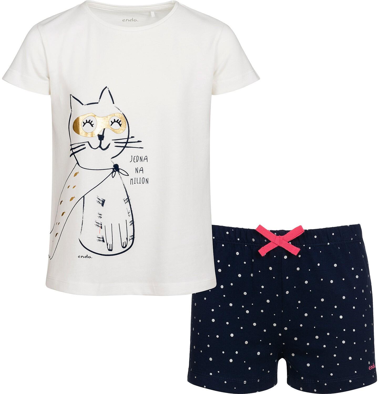 Endo - Piżama z krótkim rękawem dla dziewczynki, z kotem bohaterem, 2-8 lat D05V015_1