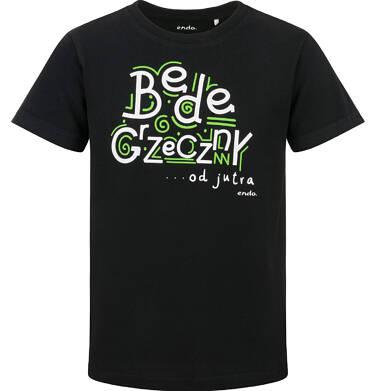 Endo - T-shirt z krótkim rękawem dla chłopca, będę grzeczny od jutra, czarny, 2-8 lat C03G171_1 137