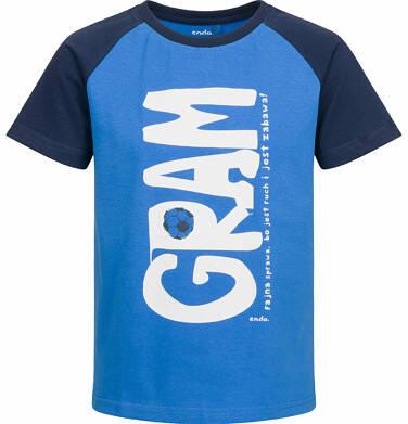 Endo - T-shirt z krótkim rękawem dla chłopca, gram, niebieski, 9-13 lat C03G573_1