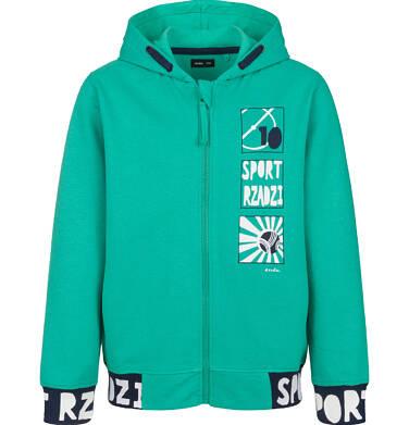 Rozpinana bluza z kapturem dla chłopca, sport rządzi, zielona, 2-8 lat C03C001_1