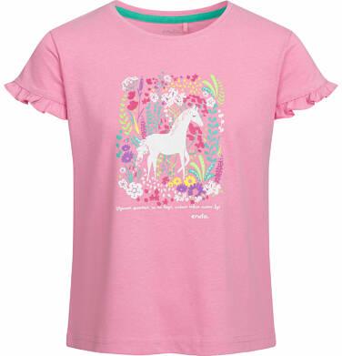 Endo - Bluzka z krótkim rękawem dla dziewczynki, koń na łące, różowa, 9-13 lat D03G539_1