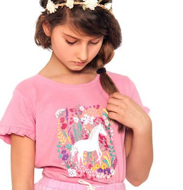 Endo - Bluzka z krótkim rękawem dla dziewczynki, z koniem i kwiatowym motywem, różowa, 9-13 lat D03G539_1