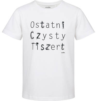 Endo - T-shirt z krótkim rękawem dla chłopca, ostatni czysty, biały, 2-8 lat C03G177_1
