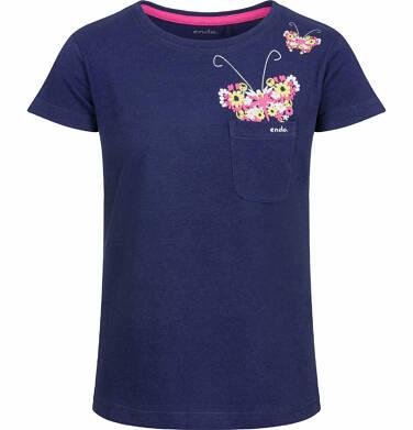 Endo - Bluzka z krótkim rękawem dla dziewczynki, z kieszonką i motylem, granatowa, 9-13 lat D03G533_2
