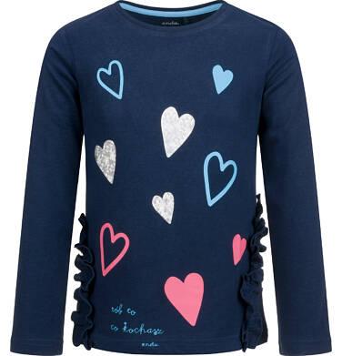 Endo - Bluzka z długim rękawem dla dziewczynki, z falbankami u dołu, granatowa, 2-8 lat D03G182_1 7