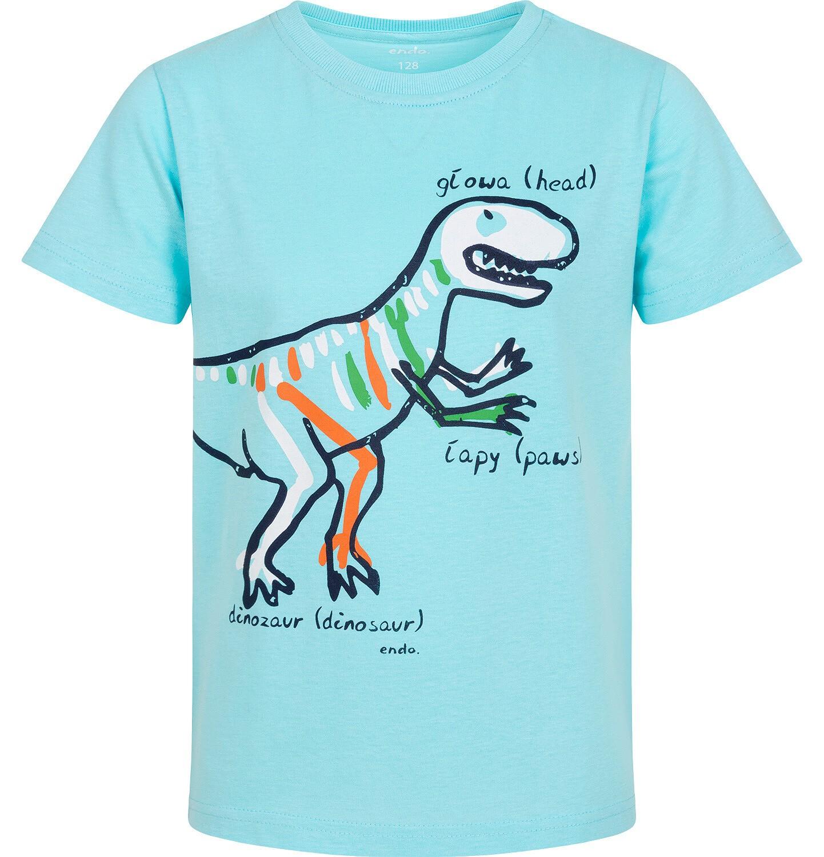 Endo - T-shirt z krótkim rękawem dla chłopca, z dinozaurem, niebieski, 9-13 lat C06G003_1