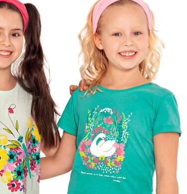 Endo - Bluzka z krótkim rękawem dla dziewczynki, z łabędziem i kwiatowym motywem, zielona, 2-8 lat D03G038_1